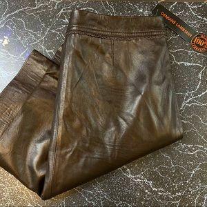 JACLYN SMITH Vintage Lambskin brown skirt 8 NWT